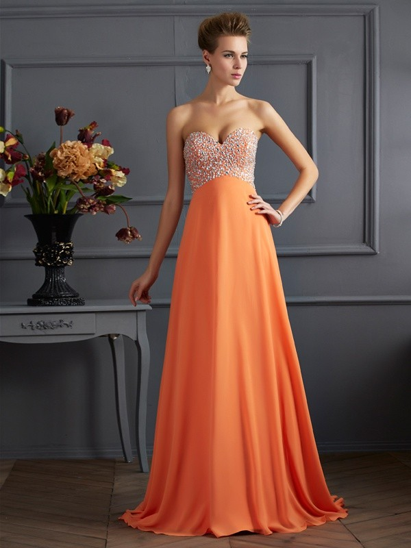 A Line Princess Sweetheart Rhinestone Chiffon Floor Length Evening Gown