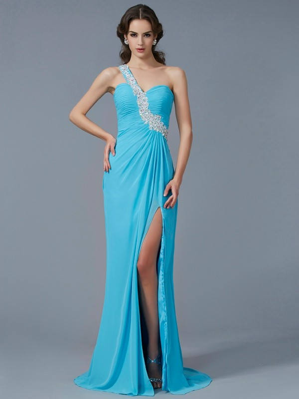 Column One Shoulder Applique Chiffon Beading Sweep Brush Train Evening Gown