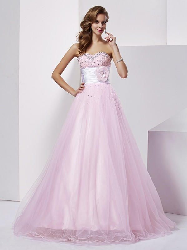 Ball Gown Strapless Sweetheart Net Elastic Woven Satin Beading Floor Length Evening Gown