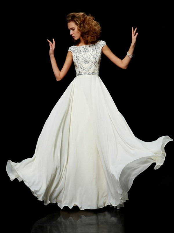 Ball Gown Chiffon High Neck Short Sleeves Beading Floor Length Evening Gown