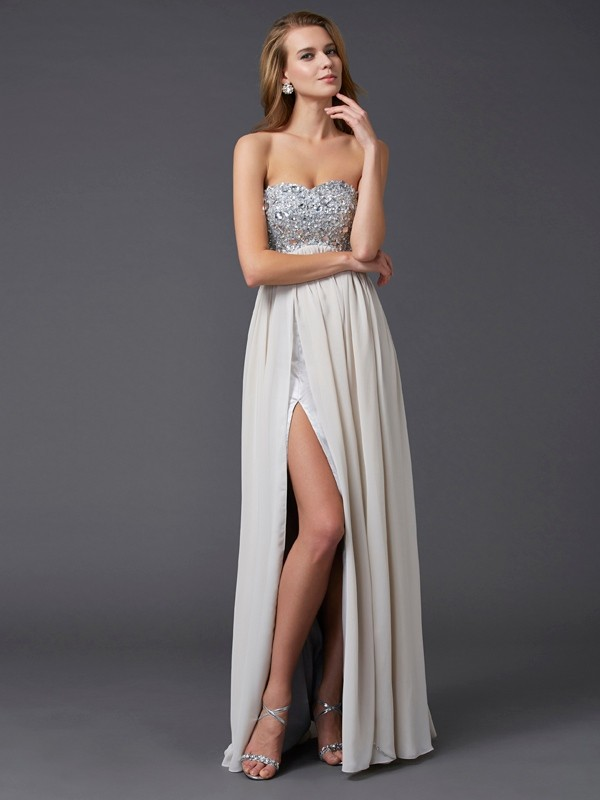 A Line ankle length Sweetheart Beading Chiffon Evening Dresses