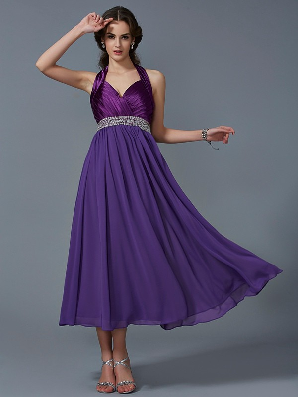 A Line Princess Halter Beading ankle length Chiffon Gown