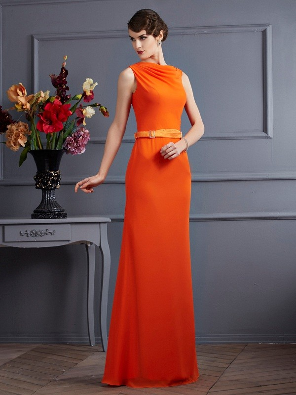 Column Chiffon High Neck Sash Ribbon Belt Floor Length Evening Wear