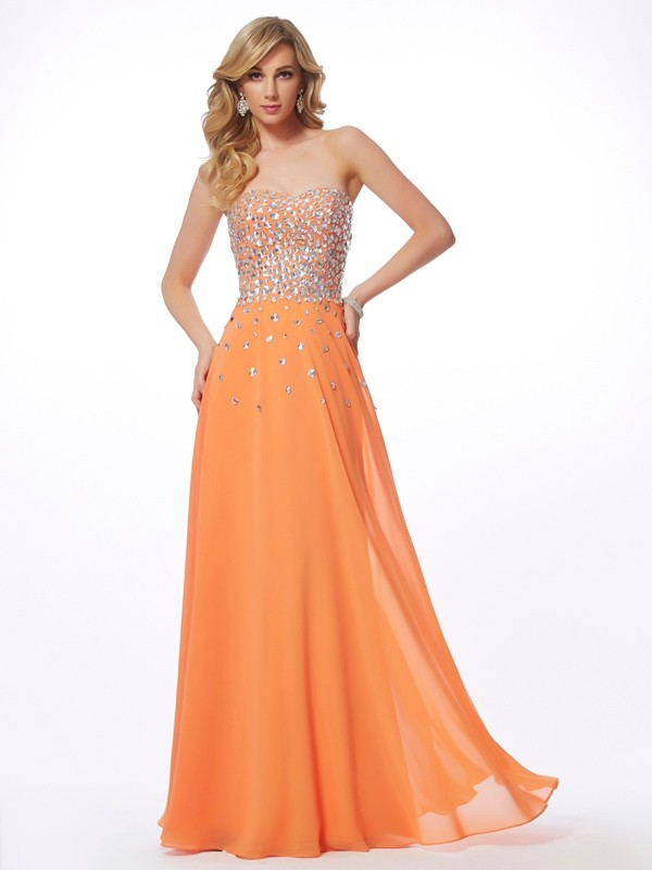 A Line Sweetheart Floor Length Chiffon Prom Dresses