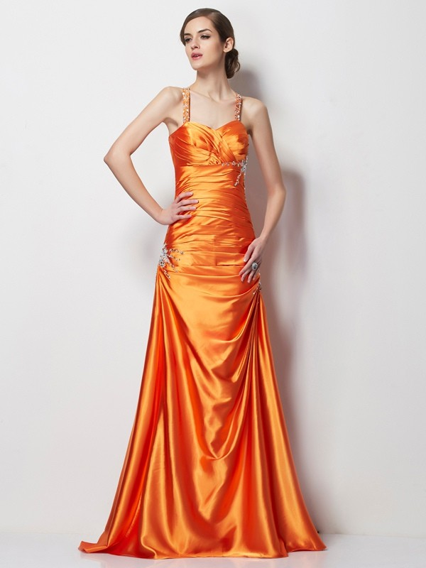 A Line Spaghetti Straps Beading Satin Sweep Brush Train Elastic Woven Evening Wear