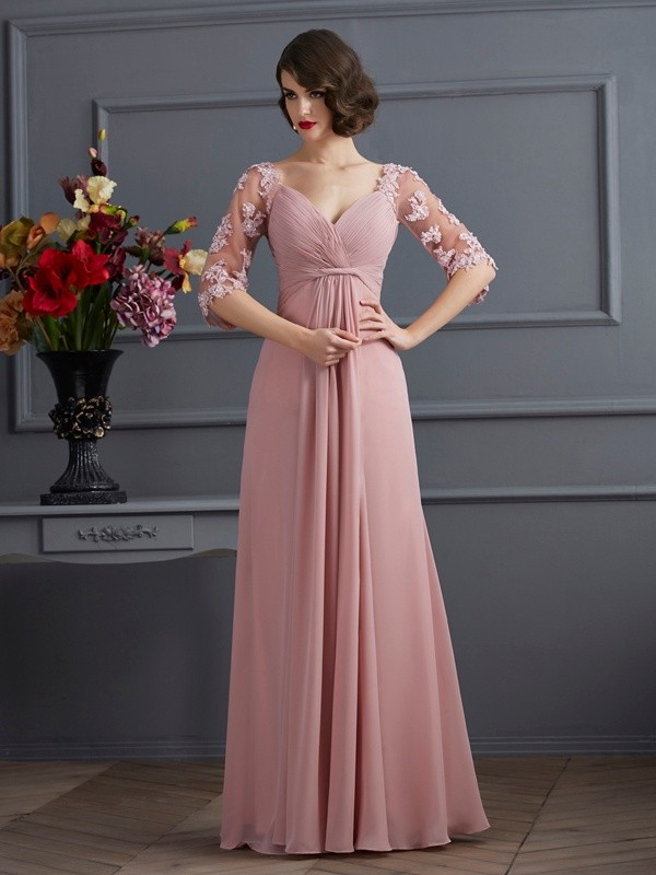 A Line Sweetheart Sleeves Floor Length Applique Chiffon Dress