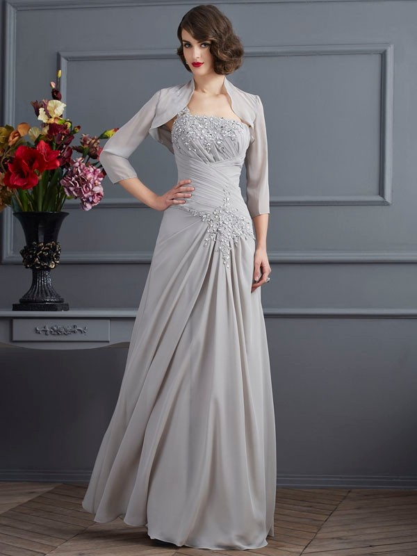 A Line Princess One Shoulder Chiffon Floor Length Mother of the Bride Outfits