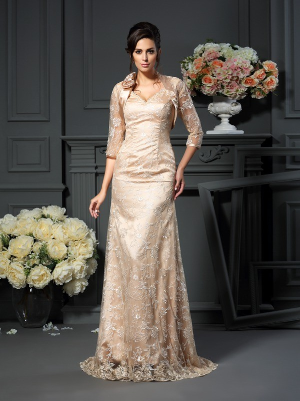 A-Line V-neck Lace Floor-Length Elastic Woven Satin Mother of the Bride Outfits