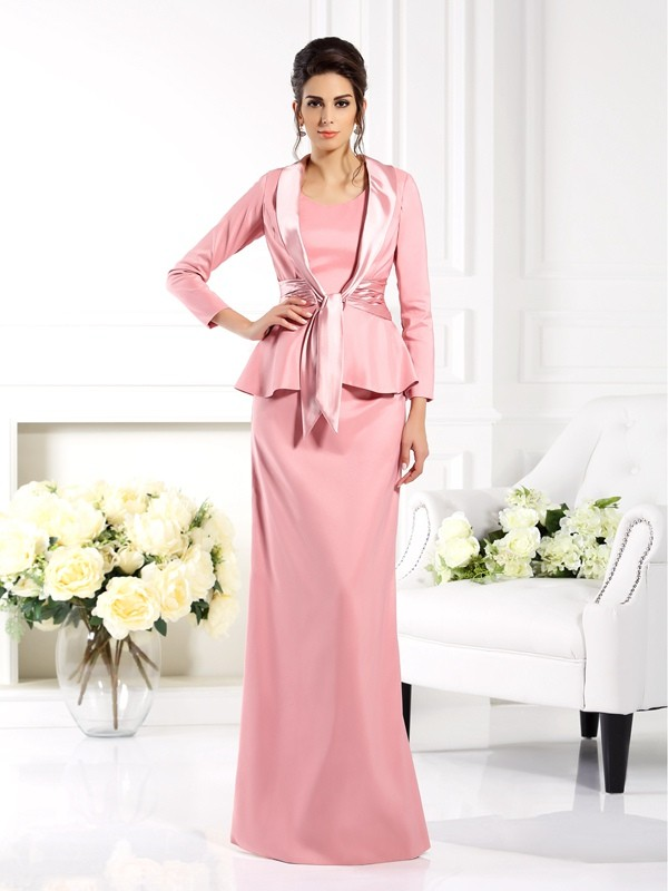 Sheath Square Floor-Length Elastic Woven Satin Mother of the Bride Outfits