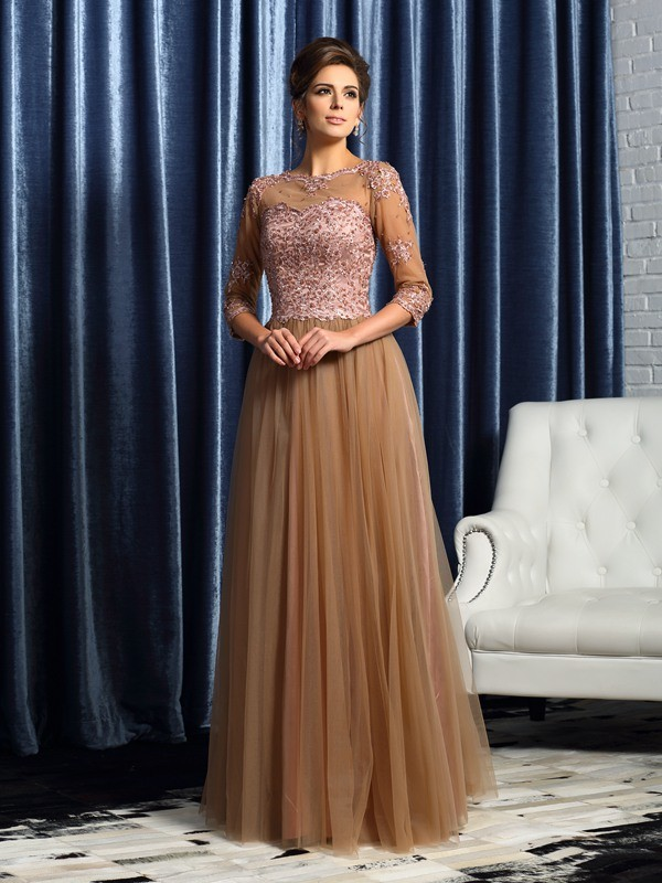 A-Line 3/4 Sleeves Scoop Floor-Length Elastic Woven Satin Mother of the Bride Outfits