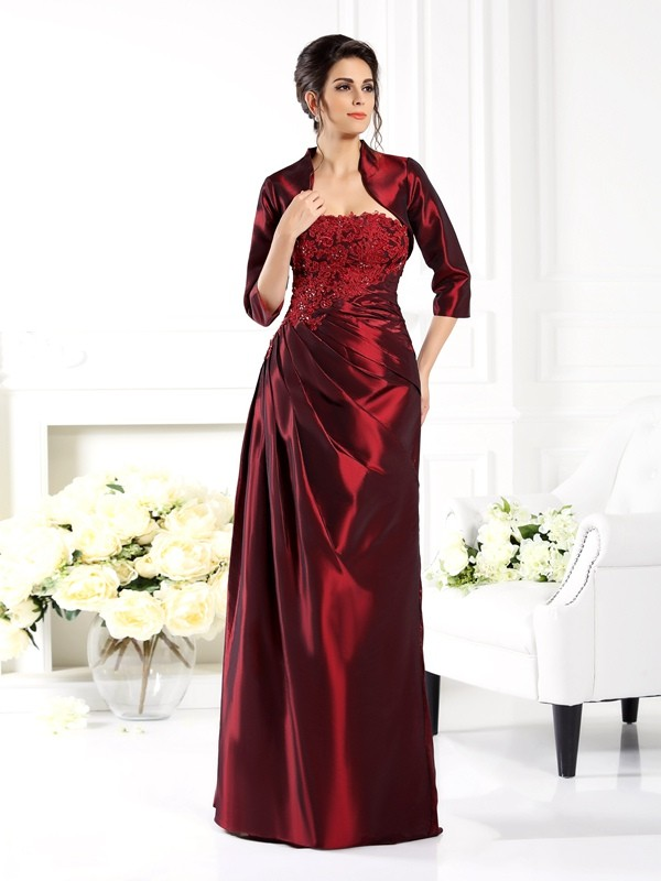 A-Line Strapless 1/2 Sleeves Applique Floor-Length Taffeta Mother of the Bride Outfits