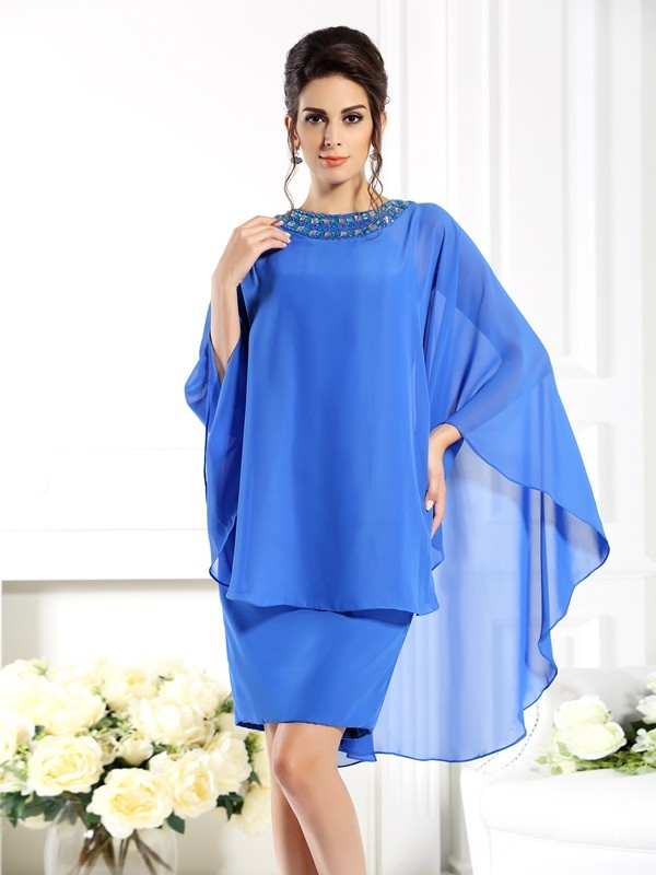 Sheath Bateau 3/4 Sleeves Knee-Length Chiffon Mother of the Bride Outfits