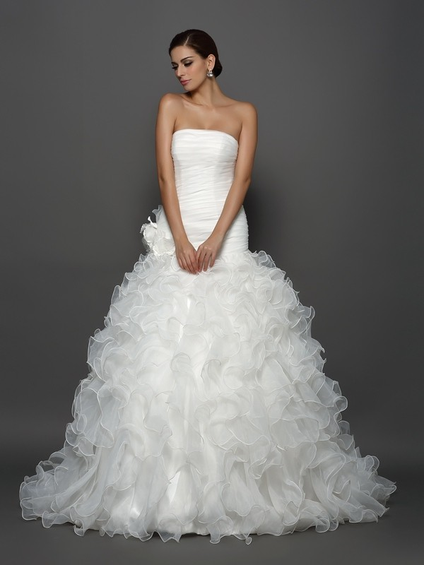 Ball Gown Strapless Organza Cathedral Train Hand-Made Flower Bridal Gown