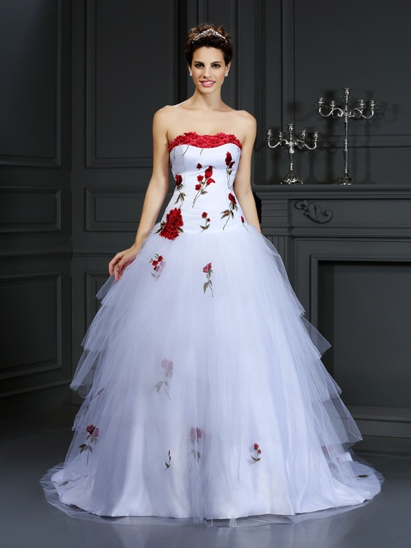 Ball Gown Strapless Hand-Made Flower Court Train Satin Bridal Gown