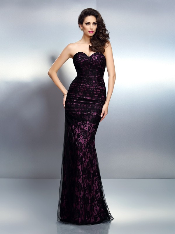 Mermaid Sweetheart Lace Floor-Length Elastic Woven Satin Evening Dresses