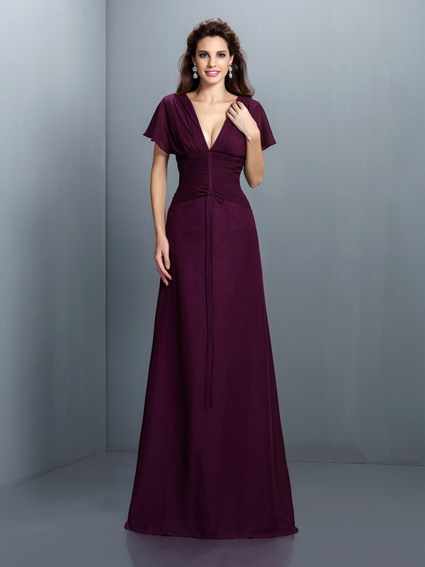 A-Line V-neck Short Sleeves Ruched Floor-Length Chiffon Prom Dress