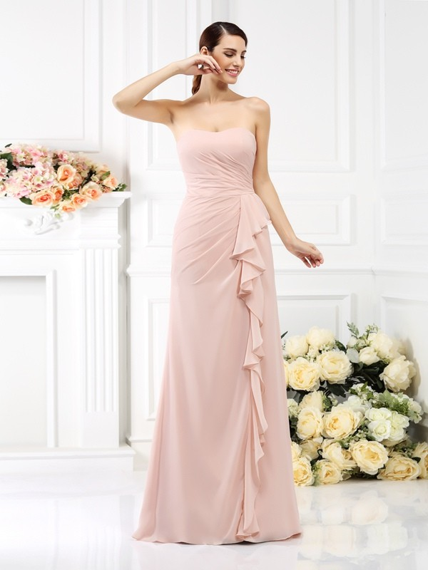 A-Line Strapless Pleats Floor-Length Chiffon Dresses For Bridesmaid