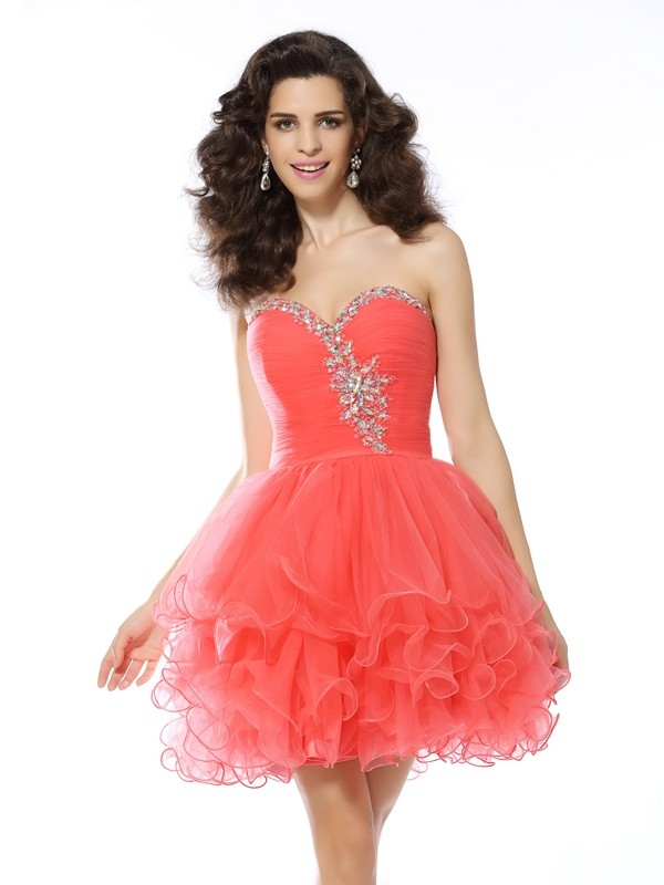 A-Line Sweetheart Ruffles Satin Mini Gown