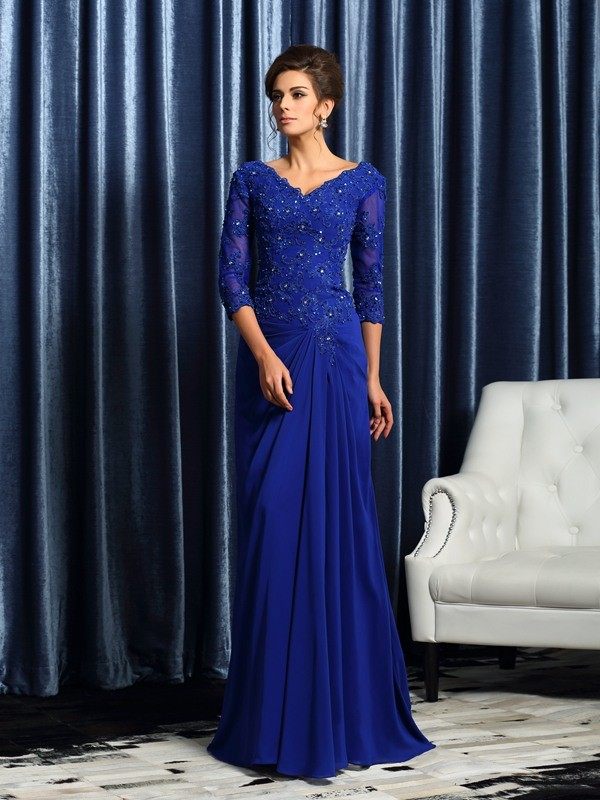 A-Line 3/4 Sleeves Chiffon Sweep/Brush Train Applique Mother of the Groom Dress