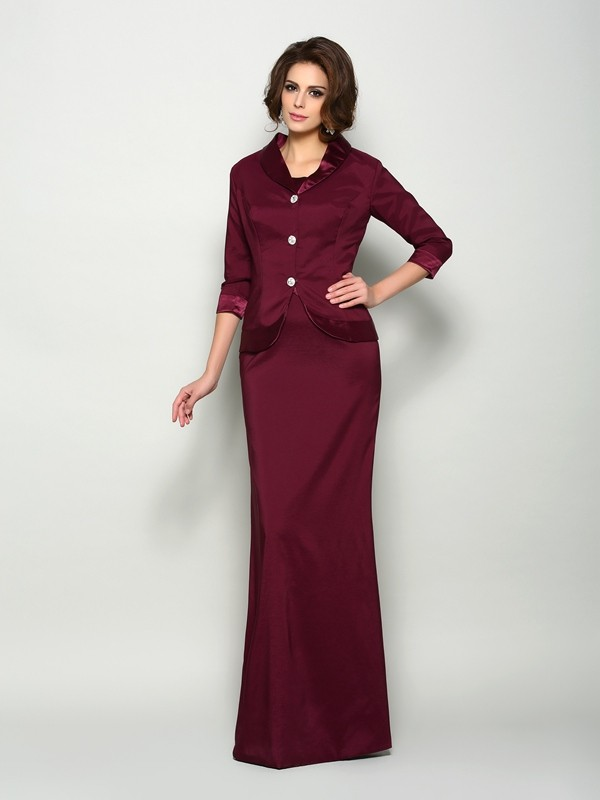 A-Line Square Floor-Length Elastic Woven Satin Mother of the Groom Dress
