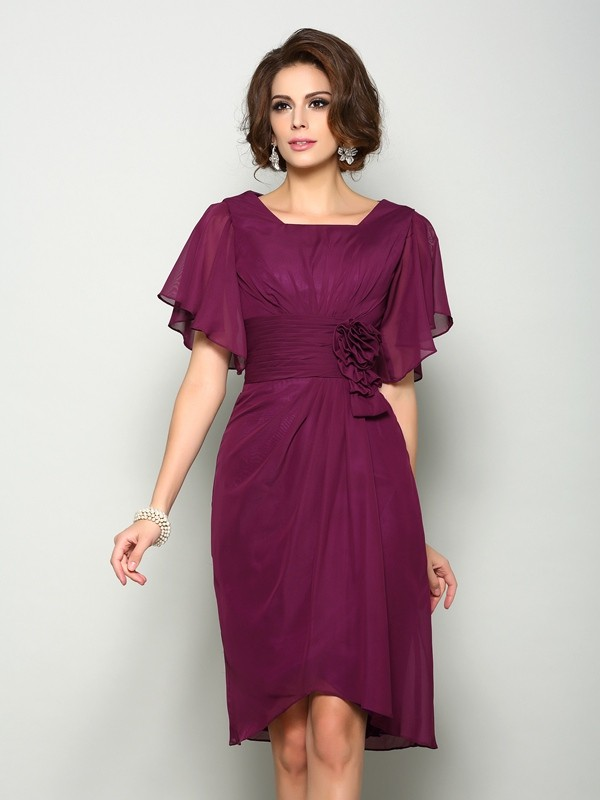A-Line Short Sleeves Square Chiffon Knee-Length Hand-Made Flower Mother of the Groom Dress