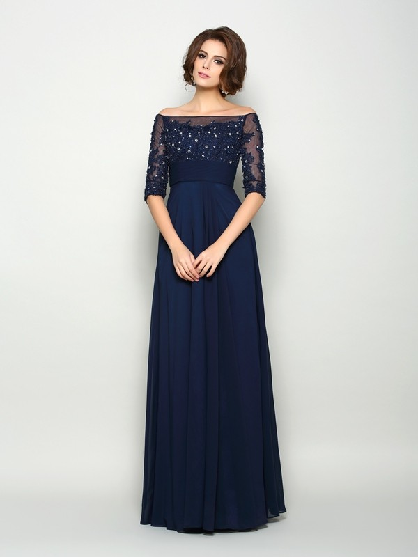 A-Line 1/2 Sleeves Off-the-Shoulder Chiffon Beading Floor-Length Mother of the Groom Dress