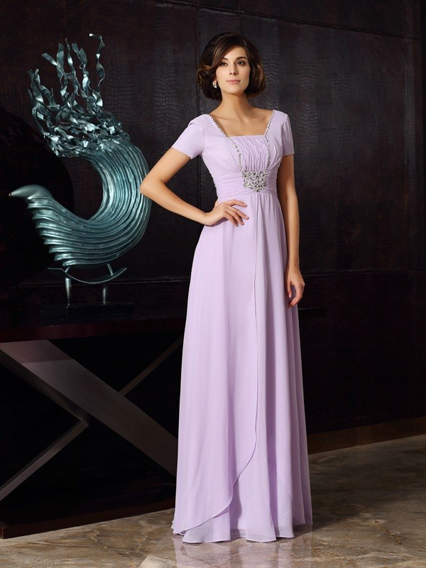 A-Line Square Short Sleeves Chiffon Floor-Length Beading Party Dress