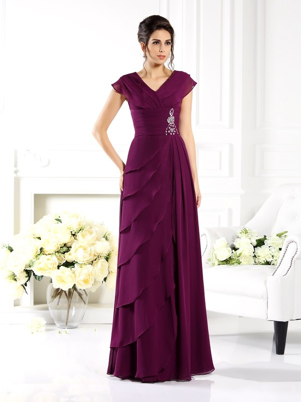 A-Line V-neck Short Sleeves Floor-Length Chiffon Mother of the Bride Gown