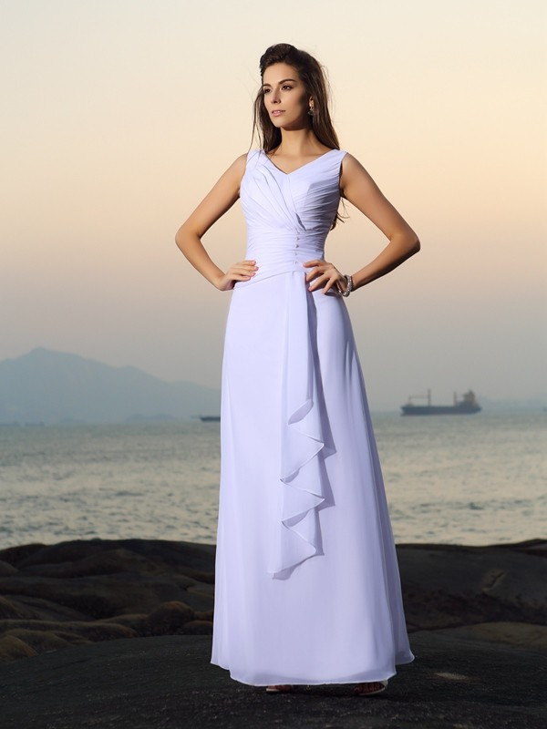 A-Line V-neck Chiffon Beading Pleats Floor-length Bridal Gown