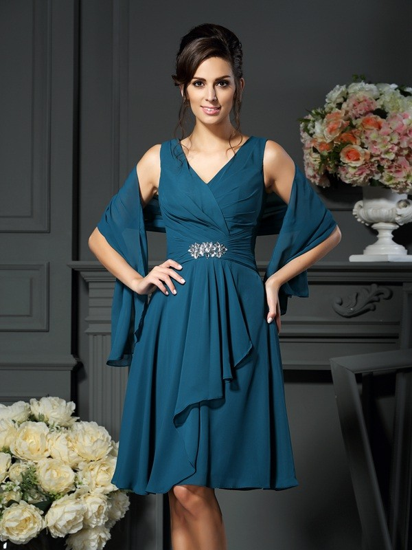 A-Line V-neck Chiffon Beading Knee-length Mother of the Groom Dress