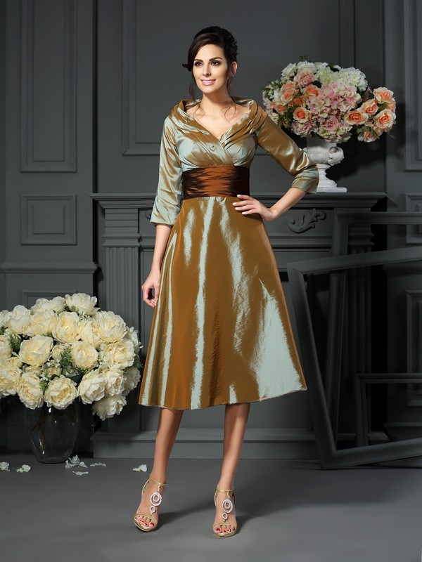 A-Line 3/4 Sleeves V-neck Taffeta Tea-Length Mother of the Bride Outfits