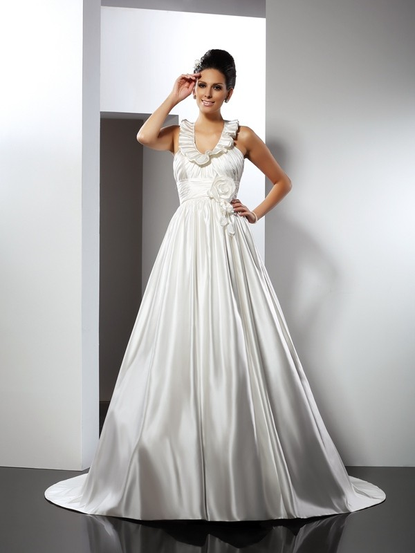 A-Line Halter Hand-Made Flower Chapel Train Satin Bridal Gown