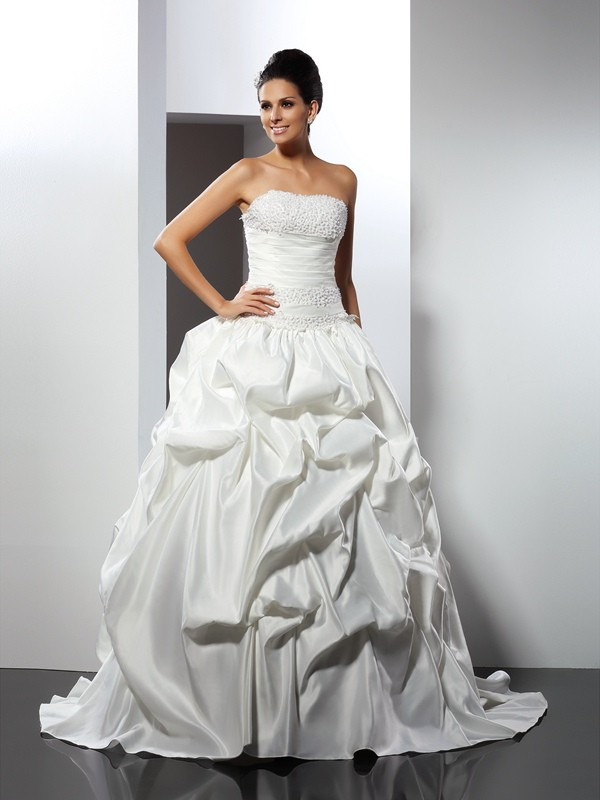 Ball Gown Strapless Cathedral Train Satin Bridal Gown