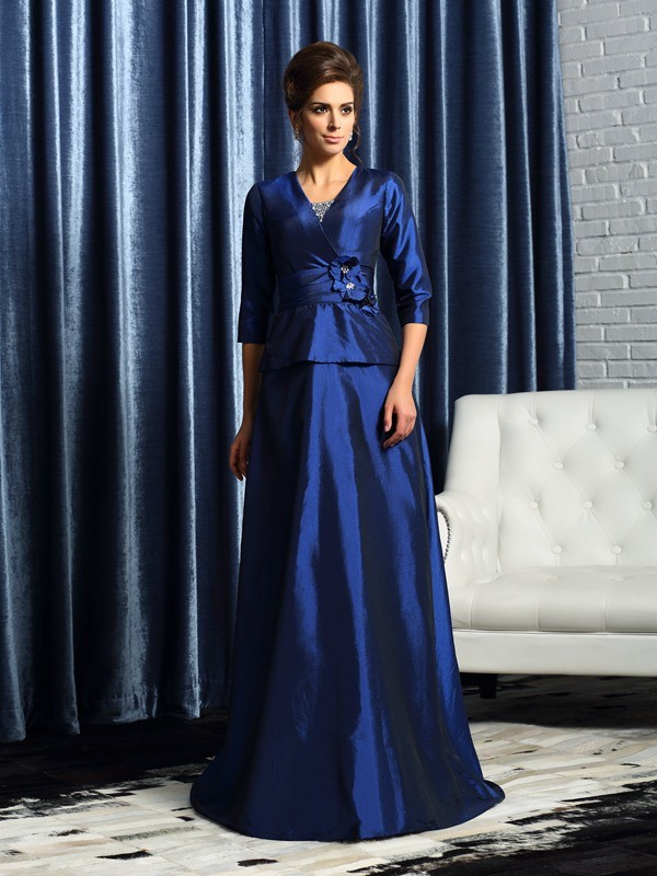 A-Line V-neck 1/2 Sleeves Taffeta Floor-Length Beading Mother of the Bride Outfits