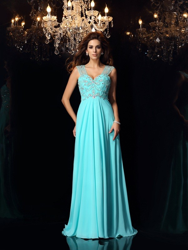 A-Line Beading Sweetheart Chiffon Sweep/Brush Train Evening Gown