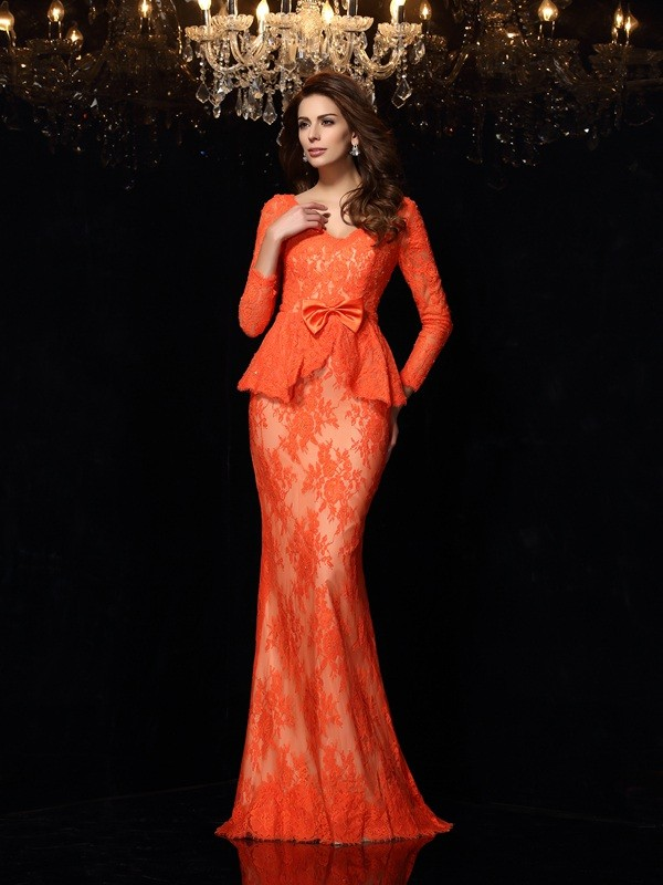 Sheath V-neck Long Sleeves Bowknot Lace Sweep/Brush Train Evening Gown