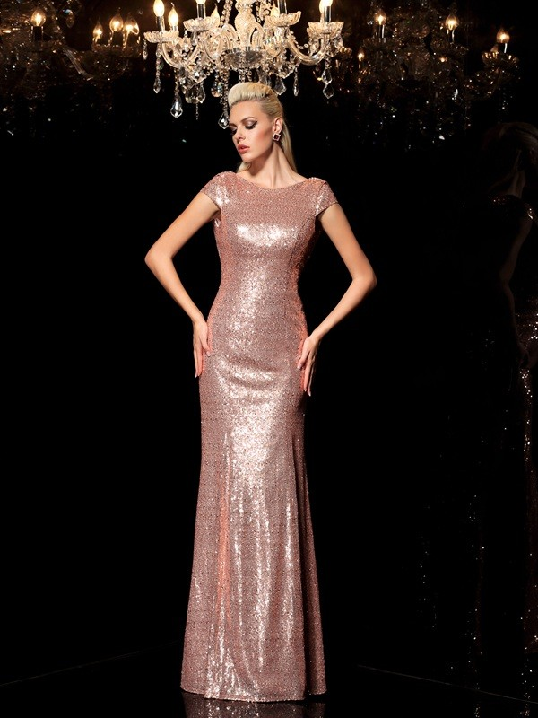 Sheath Scoop Sequin Floor-Length Sequins Dress
