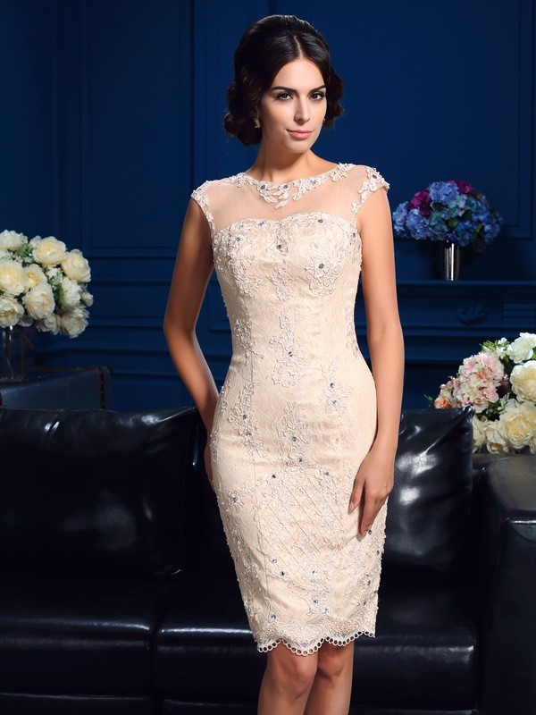 Sheath Sheer Neck Short Lace Mother Of The Groom Dress
