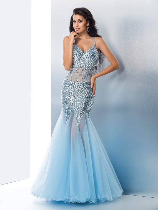 Trumpet Spaghetti Straps Sequin Tulle Floor-Length Gown