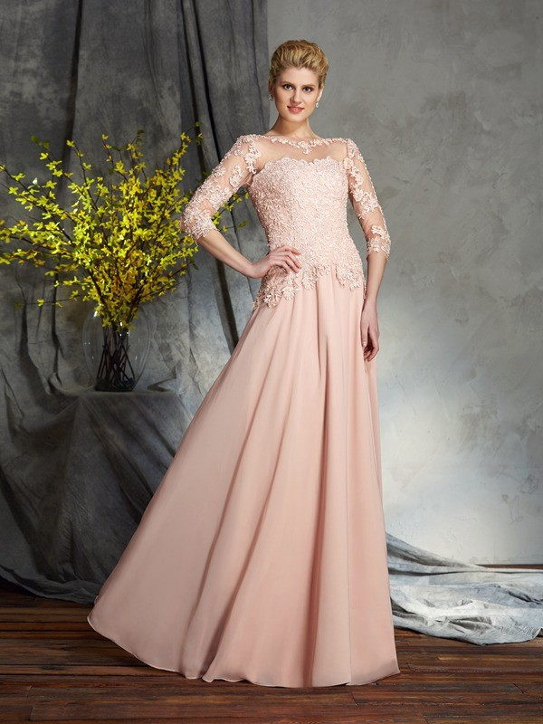 A-Line/Princess Scoop Applique 3/4 Sleeves Chiffon Mother of the Bride Dress