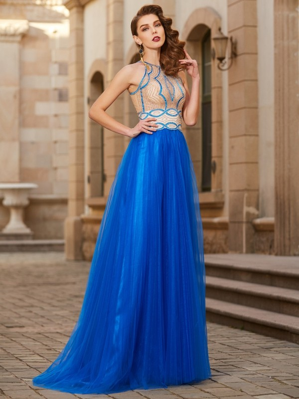 A-Line/Princess Jewel Floor-Length Tulle Dress