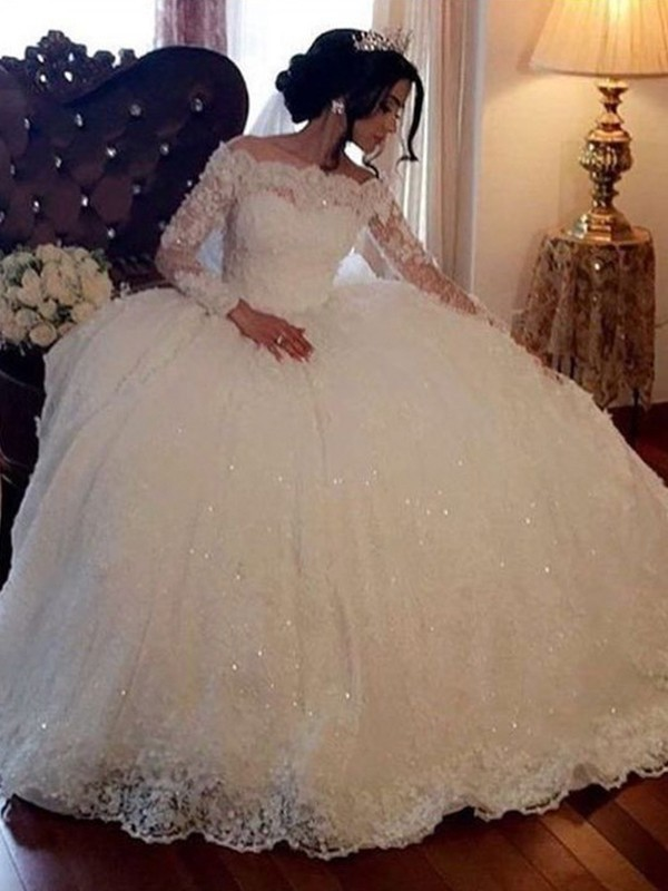 Ball Gown Bateau Long Sleeves Floor-Length Lace Tulle Wedding Dress