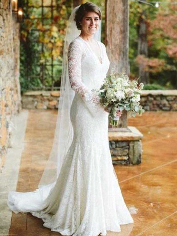 Trumpet/Mermaid V-neck Long Sleeves Ruffles Lace Sweep/Brush Train Wedding Dress