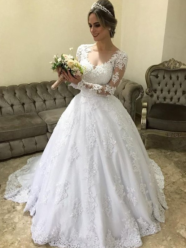 Ball Gown V-neck Long Sleeves Sweep/Brush Train Applique Satin Wedding Dress