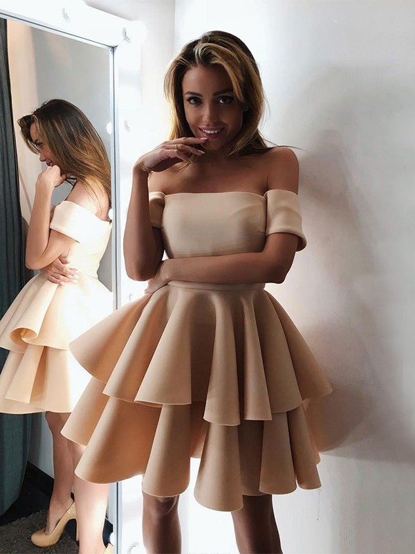 A-Line/Princess Satin Layers Off-the-Shoulder Sleeveless Short/Mini Dress