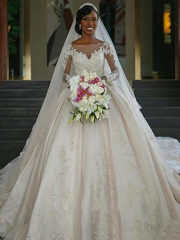 Ball Gown Bateau Long Sleeves Sweep/Brush Train Applique Satin Wedding Dresses