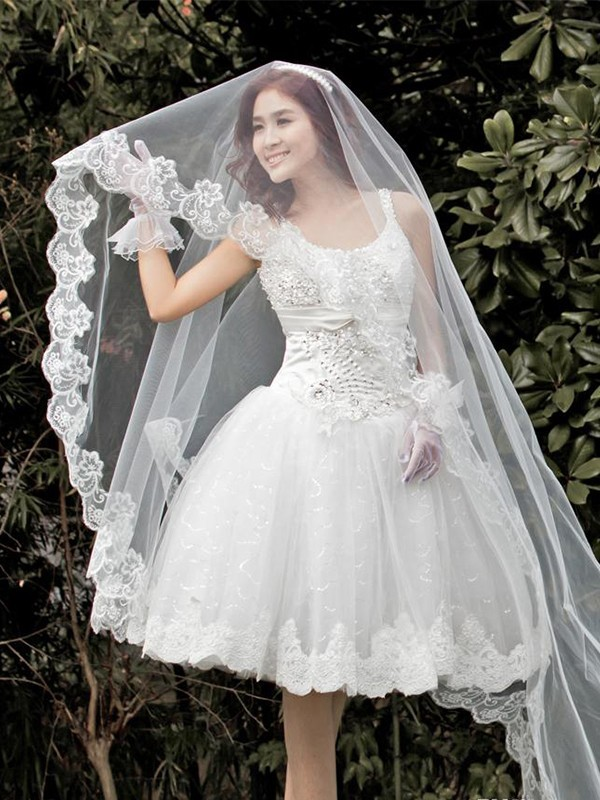 Gorgeous Tulle With Lace Wedding Veil
