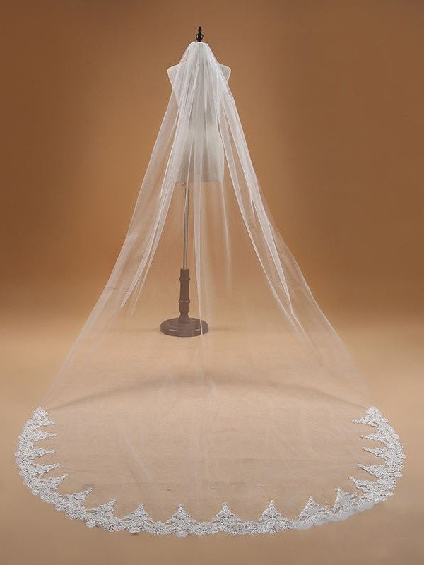 Elegant Tulle With Lace Wedding Veil