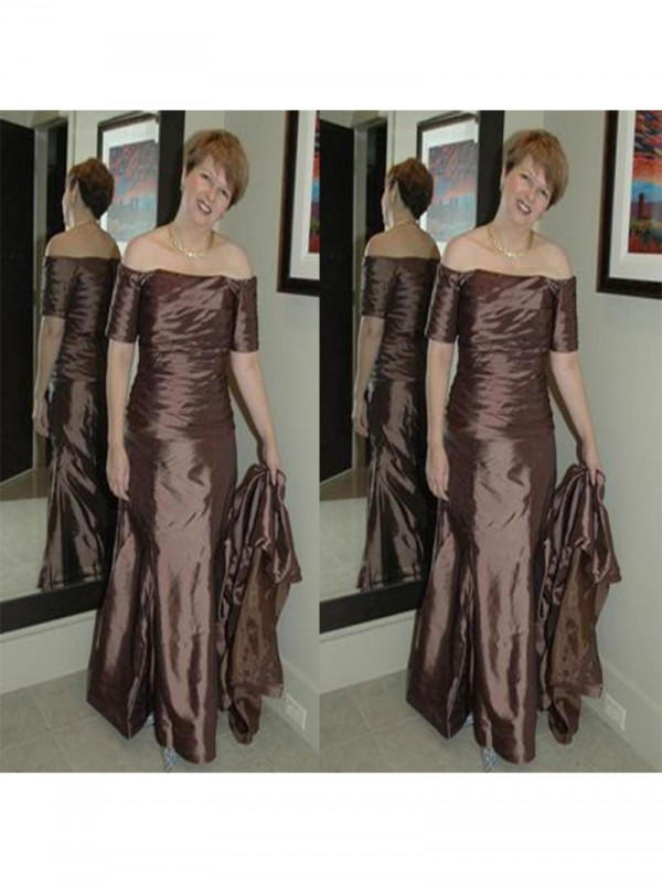 Sheath/Column Off-the-Shoulder Floor-Length Elastic Woven Satin Mother Of The Bride Dress