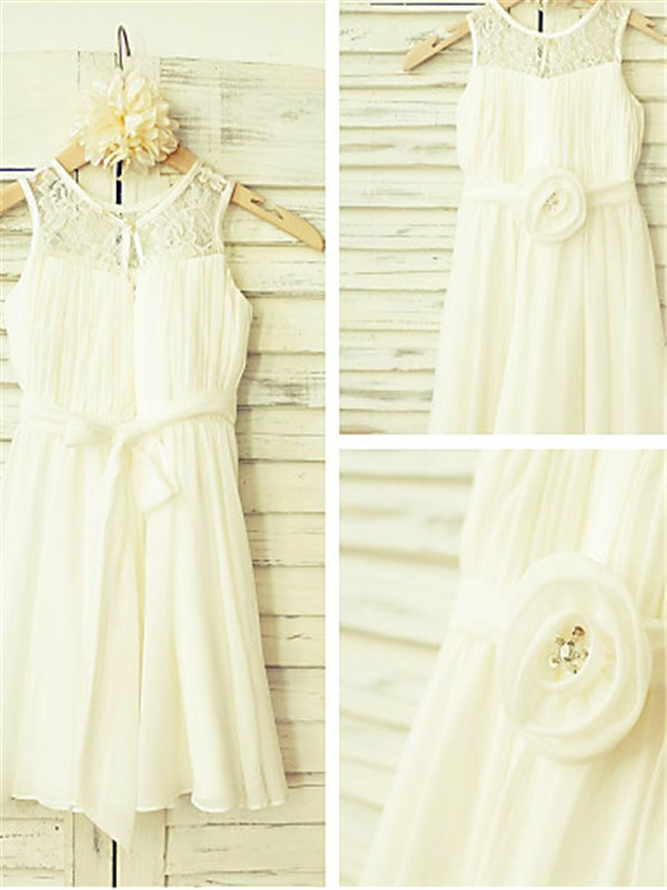 A-line/Princess Scoop Hand-made Flower Tea-Length Chiffon Baby Girl Dresses